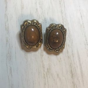 Vintage Brown Marbled Gold Clip-On Earrings
